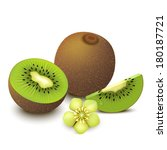 whole kiwi fruit with half ... | Shutterstock .eps vector #180187721