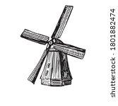 wind mill. old windmill hand...   Shutterstock .eps vector #1801882474