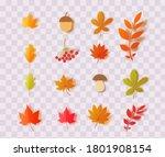 Set Of Autumn Leaves Mushroom...