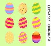 easter eggs set. flat style.... | Shutterstock .eps vector #180191855
