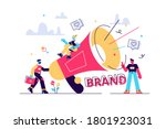 marketers with megaphone... | Shutterstock .eps vector #1801923031