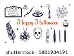 happy  halloween vector hand... | Shutterstock .eps vector #1801934191
