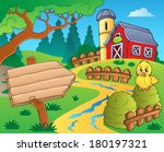farm theme with red barn 3  ... | Shutterstock .eps vector #180197321