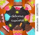 muffin set. cupcake frame. hand ...   Shutterstock .eps vector #180200771