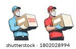delivery man in medical mask... | Shutterstock .eps vector #1802028994