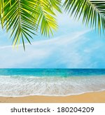 palm branch over a tropical... | Shutterstock . vector #180204209