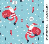 merry christmas pattern with... | Shutterstock .eps vector #1802068354