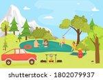 cartoon family in forest ... | Shutterstock .eps vector #1802079937