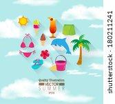 summer flat vector icon set  ... | Shutterstock .eps vector #180211241