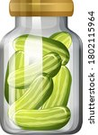 cucumber in the glass jar... | Shutterstock .eps vector #1802115964