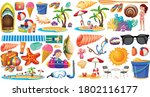 set of summer beach icon... | Shutterstock .eps vector #1802116177