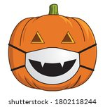 covid jack o lantern with face... | Shutterstock .eps vector #1802118244