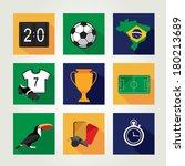 soccer icon set.  brazil summer ... | Shutterstock .eps vector #180213689