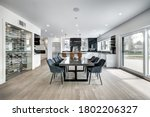 Small photo of Real estate photography - New big luxury modern house in Montreal's suburb partially furnished with backyard, empty rooms, closets, basement and garage