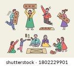 chuseok  a big holiday in korea.... | Shutterstock .eps vector #1802229901