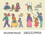 chuseok  a big holiday in korea.... | Shutterstock .eps vector #1802229904