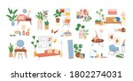 set of modern interior decor... | Shutterstock .eps vector #1802274031