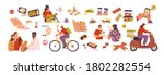 set of scenes with delivery... | Shutterstock .eps vector #1802282554