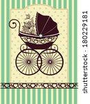 vintage pram | Shutterstock .eps vector #180229181