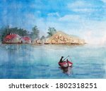 Watercolor Picture Of A Fisher...