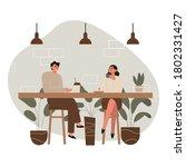 people in cozy cafe  coffee... | Shutterstock .eps vector #1802331427