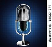 retro microphone on blue... | Shutterstock . vector #180234374