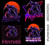 a set of black panther... | Shutterstock .eps vector #1802350351