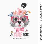 Cute Dog Slogan With B W Dog In ...