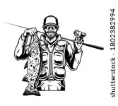 Vintage fishing monochrome template with happy bearded and mustached angler holding caught trout fish and spinning rod isolated vector illustration
