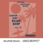 surf board and palm tree... | Shutterstock .eps vector #1802383957