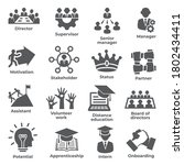 leadership icons on white... | Shutterstock .eps vector #1802434411