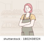 young female grocery workers in ... | Shutterstock .eps vector #1802438524