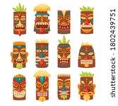 Tiki Mask Tribal Set. Hawaiian...