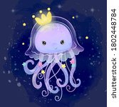 cute jellyfish illustration in... | Shutterstock .eps vector #1802448784