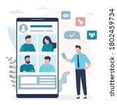 online video conference....   Shutterstock .eps vector #1802459734