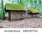 Small photo of Old wooden house in a tropical rainforest in northern Thailand.