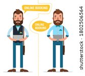 online booking. man with tablet ... | Shutterstock . vector #1802506564