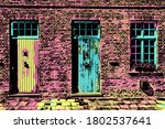 Brick Facade Of Old House And...