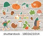 vector autumn sticker pack....   Shutterstock .eps vector #1802621014