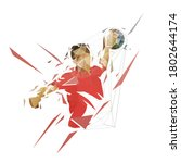 handball player throwing ball... | Shutterstock .eps vector #1802644174