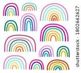 pastel colors rainbow hand... | Shutterstock .eps vector #1802662627