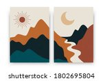 abstract contemporary landscape ... | Shutterstock .eps vector #1802695804
