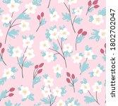 hand drawn botanical pattern... | Shutterstock .eps vector #1802702047