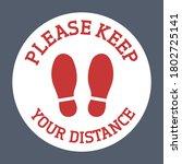 please keep your distance floor ...   Shutterstock .eps vector #1802725141
