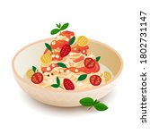 pasta on a plate with tomato... | Shutterstock .eps vector #1802731147