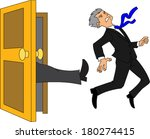 businessman being kicked out of ... | Shutterstock .eps vector #180274415