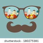 retro sunglasses with... | Shutterstock .eps vector #180275381