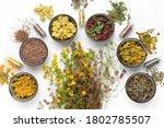 Bowls Of Dry Medicinal Herbs ...