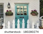 a teal wooden front door to a... | Shutterstock . vector #180280274