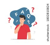 thinking man with question mark....   Shutterstock .eps vector #1802810824